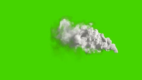 Air pollution. Power plant's smoke on green screen. Chimney flow smoke. Contamination, pollution causing global warming and climate change.