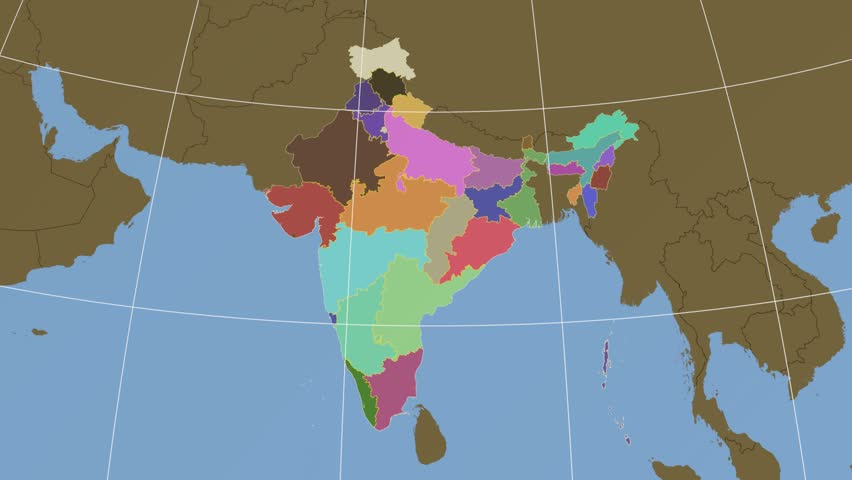 Tamil Nadu Extruded On The Administrative Map Of India Solid Colors