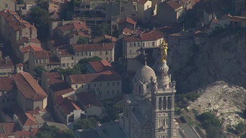 AERIAL France-Revealing Marseille From Notre-Dame De La Garde 2006: Wide Marseille