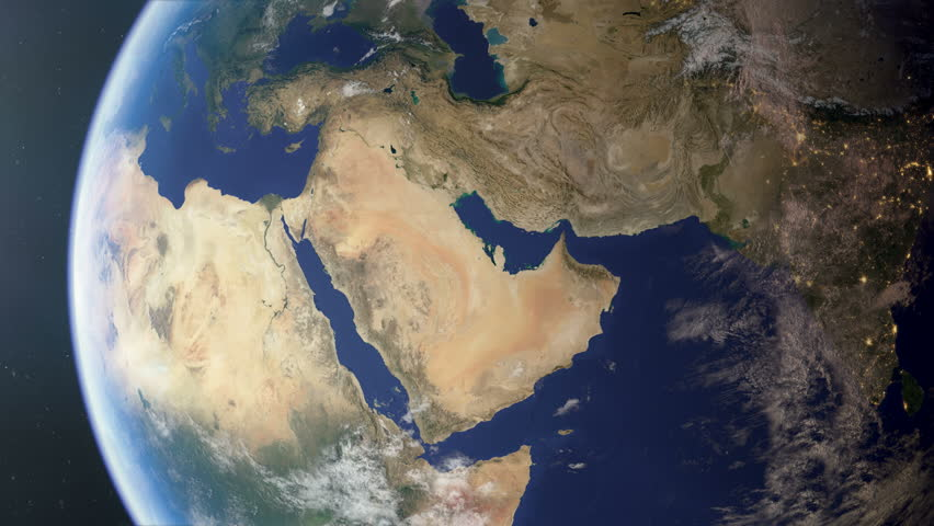 Orbiting over the Middle East. Photorealistic 3d animation, created using ultra high resolution Nasa textures. The second half of the video contains regional and country border fills and outline.