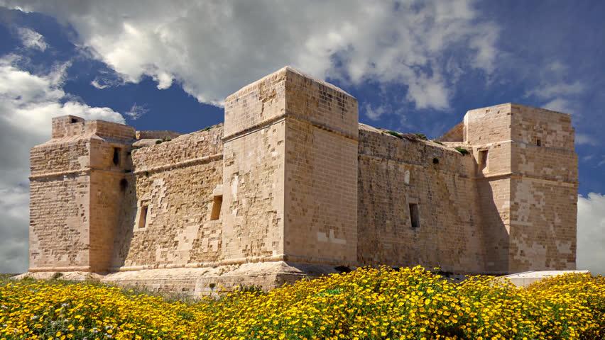 Watchtower on the coast of the island Malta in Marsascala
