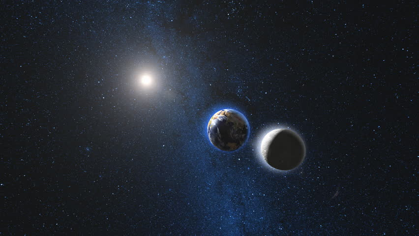 Planet Earth and Moon rotating and approach in open space, Blue Milky Way in background. High detail 4k 3D Render animation. Zoom. Elements of this image furnished by NASA. Astronomy science concept.