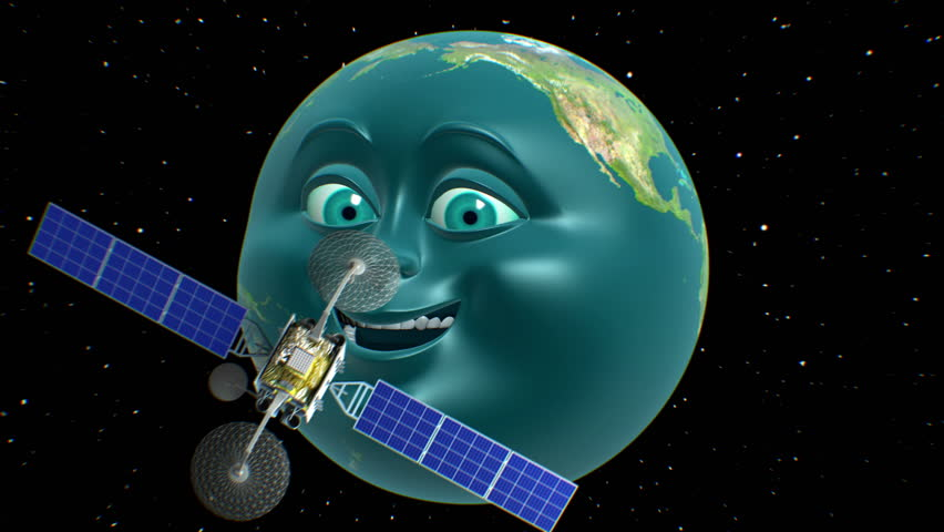Anthropomorphic Earth in cartoon style on background, fictional observation satellite flies past, 3d animation. Texture of the Planet was created in the graphic editor without photos and other images.