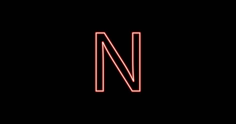 Neon Alphabet N letter Red Light Icon, Background with motion of A letter, seamless loop.  ?artoon animation 2D loopable.