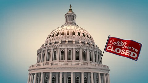 Capital Building with Closed Flag Animation. animation of the top of the United States Capital Building with blue background and a waving flag that states, sorry we're closed. Luma matte for isolation