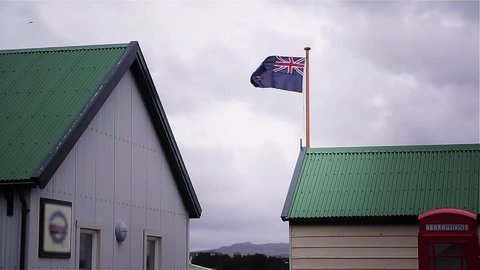 Falkland Flag in Port Stanley (Puerto Argentino, Malvinas Islands).
