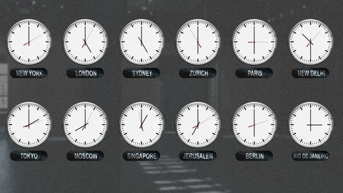 World Clocks with Different Time Zones in Time Lapse