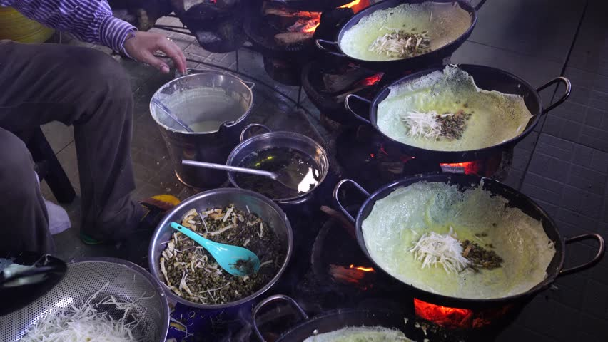 Chau Doc, An Giang, November 2017: Rice cake. Vietnam food, banh xeo or vietnamese pancake make from rice flour and filled with a shrimp, meat, soya bean sprouts, is popular Viet Nam street food
