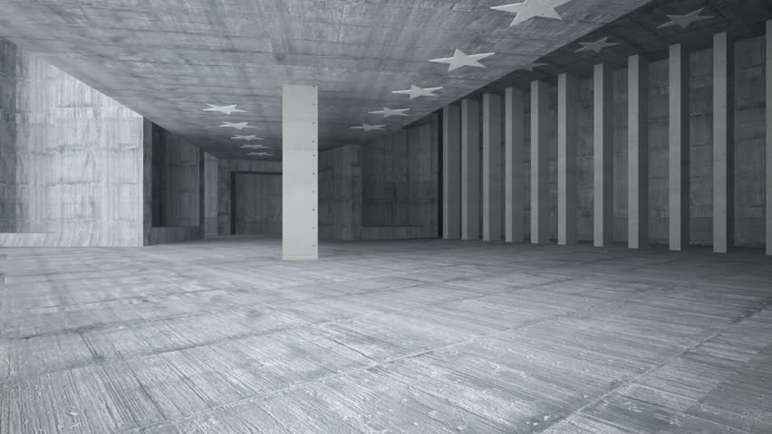 Abstract concrete interior with future columns and decor in the form of stars. Architectural background. 3D animation and rendering #1006622140