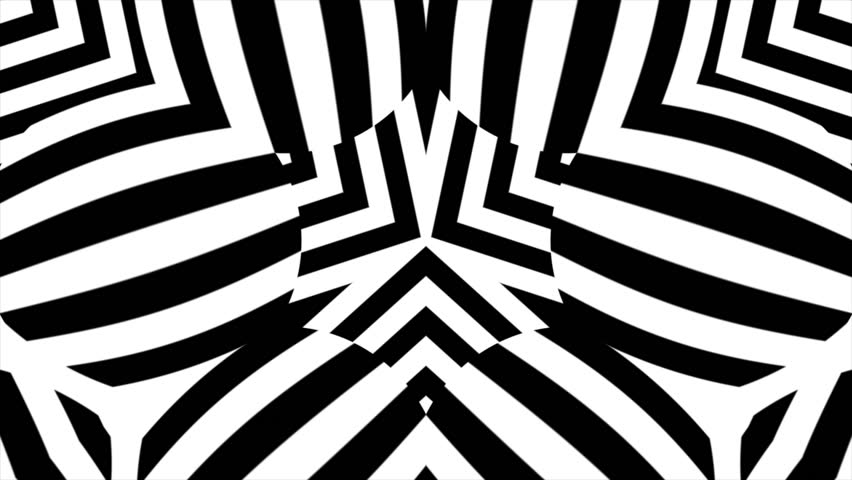 Black and white abstract background. Black and white abstract kaleidoscope background. 3d changing shapes