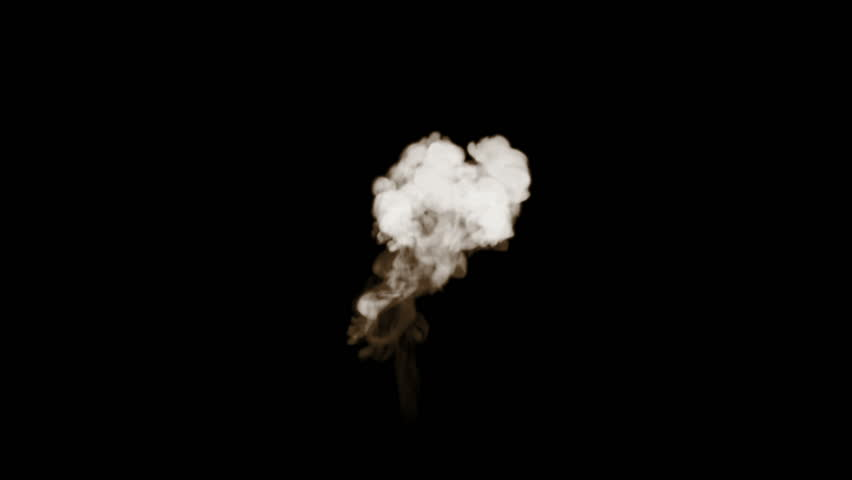 Smoke stream in slow motion. Isolated on black background with backlit and ready for compositing for visual effects. For transparency use mode screen.