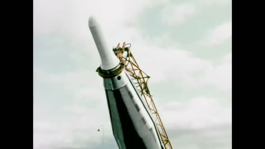 CIRCA 1962 - Blueprints are made for USAF missiles; one is set up at a launch pad. | Shutterstock HD Video #1006638250