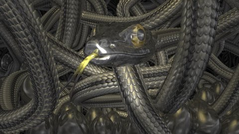 3D metal snake. Steampunk style. CGI 3D image