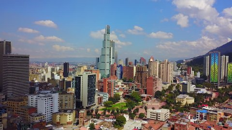 CIRCA 2010s - Beautiful aerial establishing shot of old buildings, modern skyscrapers and neighborhoods in downtown Bogata, Colombia.