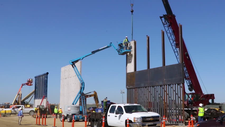 CIRCA 2010s - Trump border wall prototypes are built and tested along the U.S. Mexico border.