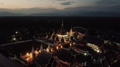 Aerial view Wat Ban Den temple in Chiang mai, Thailand.