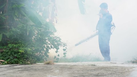 Fumigate mosquito killing to prevent disease, Slow motion