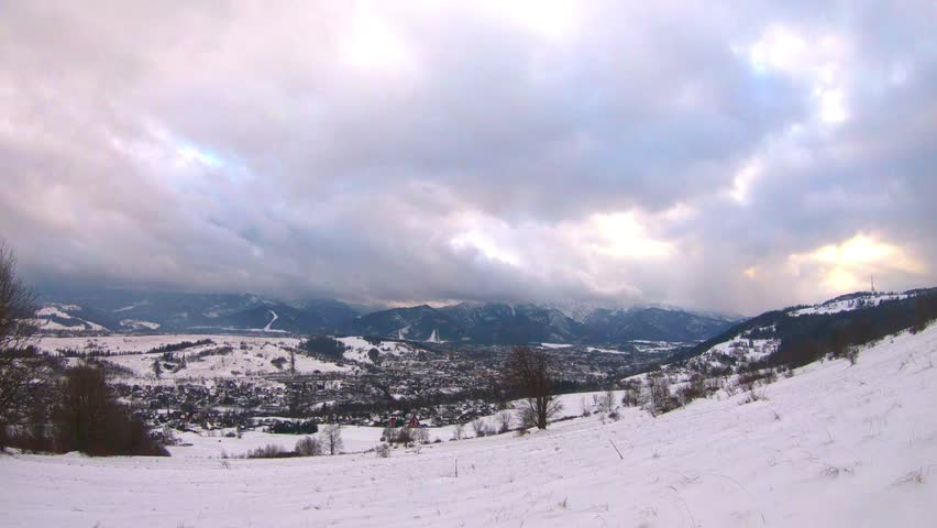 Clouds over the mountains and the town of Zakopane