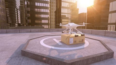 Drone delivers a parcel to a building roof. Beautiful 3d animation, 4K