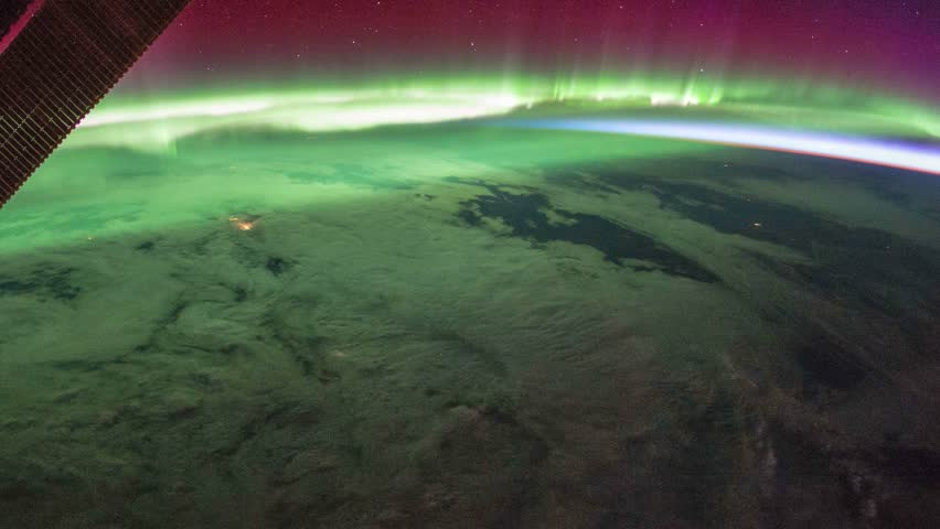 Beautiful and spectacular zoom out of time lapse Aurora Borealis over Canada from satellite at out space. Earth maps and images courtesy by Nasa.