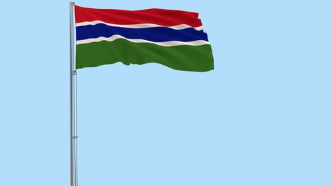 Isolate flag of Gambia on a flagpole fluttering in the wind on a transparent background, 3d rendering, PNG format with Alpha channel transparency