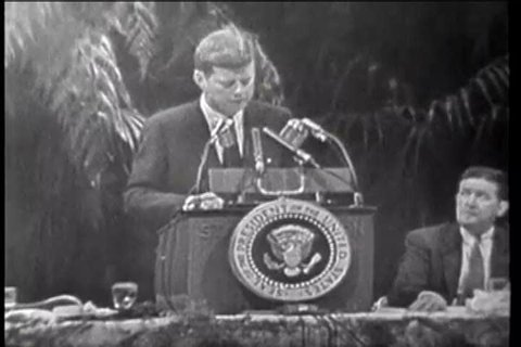 CIRCA 1961 John F Kennedy discusses the Cuban uprising and guerilla fighters before the American Society of Newspaper Members.