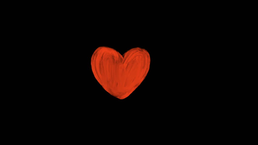 Hand drawn animation of red romantic heart on dark background