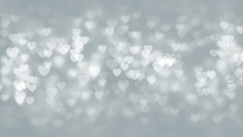 White Hearts Particles Background. Seamless loop