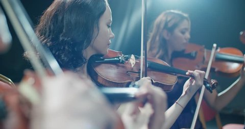 symphony orchestra performance, close-up of stringed instruments at work
