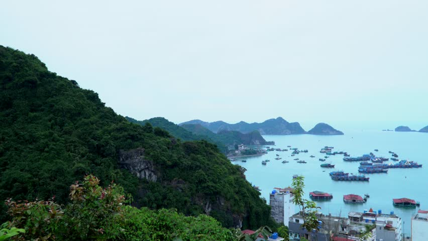 The city at a bay. Cat ba. Panoramic landscape view of Cat Ba City of Cat Ba Island, Vietnam..