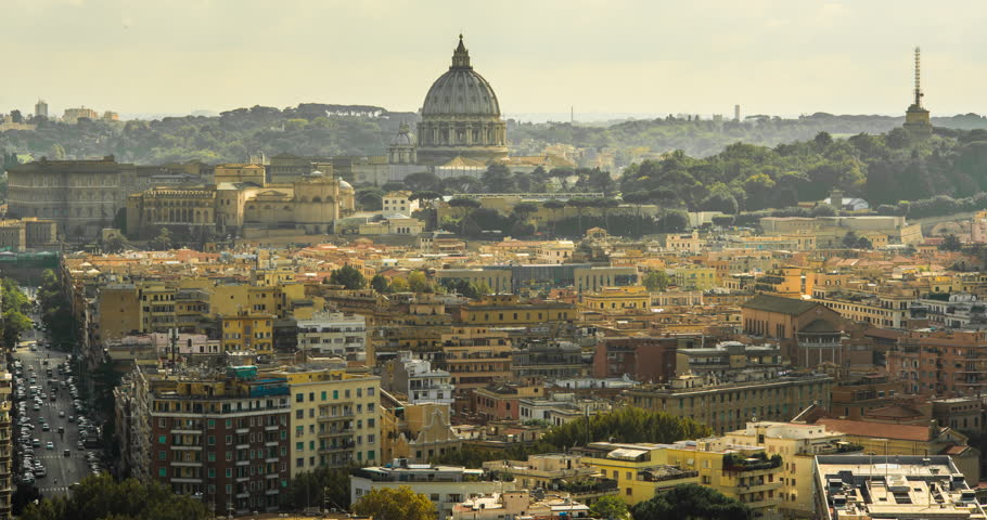ROME, ITALY – OCTOBER 2015 : Timelapse over the city and light moving on rooftops with view of St. Peter's Basilica | Shutterstock HD Video #1006794280