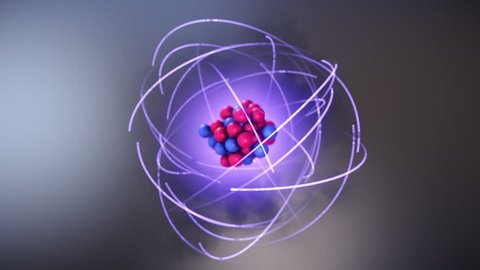 3D Model of Atom. Protons and Neutrons in Atomic Nucleus and Orbiting Electrons. Nuclear Physics Concept.