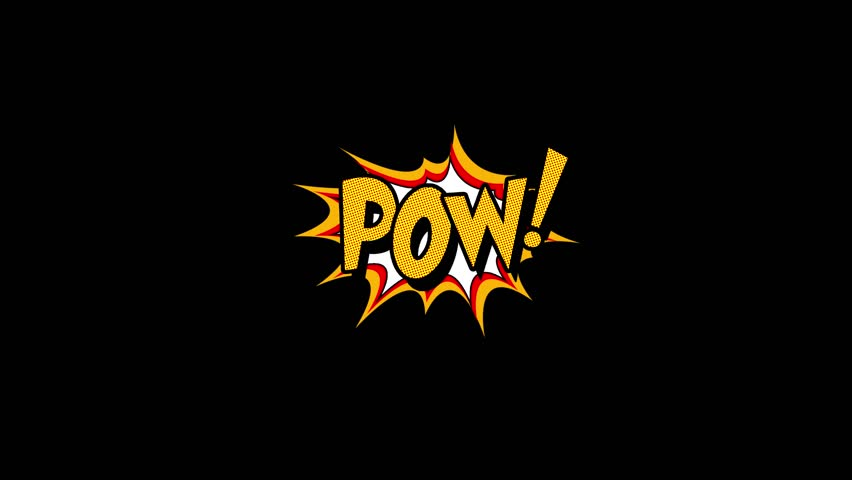 Comic strip speech bubble cartoon animation, with the words pow. Yellow text, white shape, Alpha channel