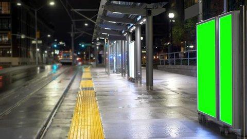 Light Rapid Transit Station Billboard Advertising, Public Metro Green Screen