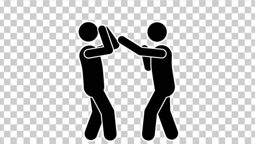 Black Cartoon Stick Figure Boxing. Alpha Matte   Shutterstock HD Video #1006841080