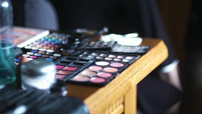Brush set for make-up on table | Shutterstock HD Video #1006852480