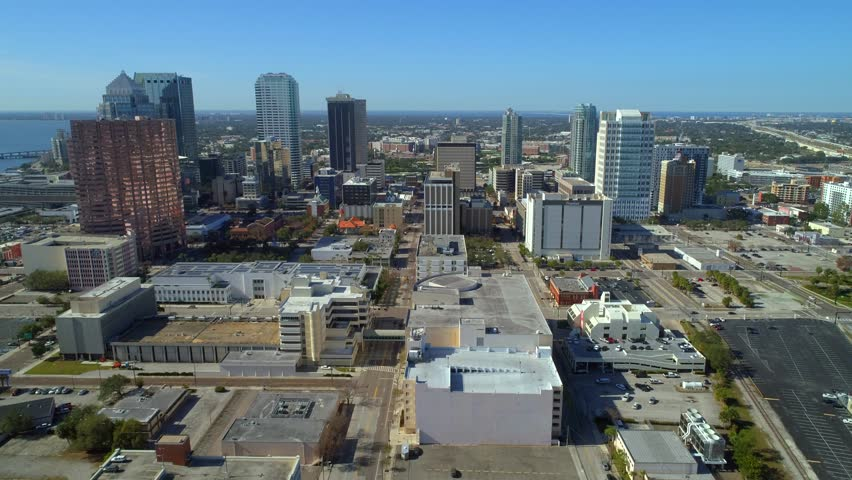 TAMPA, FL, USA - JANUARY 14, 2018: Downtown Tampa aerial stock footage 4k 60p