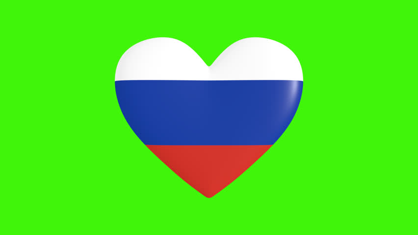 Pulsating heart in the colors of Russia flag, on a transparent background, 3d rendering, png format with alpha transparency channel, loop