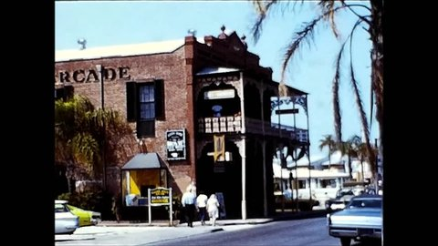 KEY WEST, USA - CIRCA 1971: Several people,impressions & scenes from Key West, Florida. Vintage 8mm film.