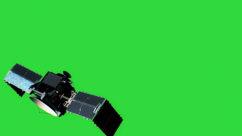 Beautiful View of Satellite on Green Screen Opening Solar Panels. 3d Animation. Space and Technology Concept. 4k Ultra HD 3840x2160.