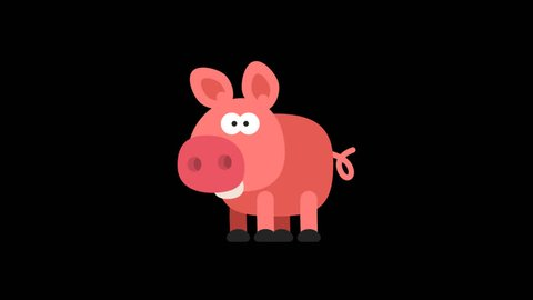 Pig Funny Animal Character Chinese Horoscope. Motion graphics. Transparent background.