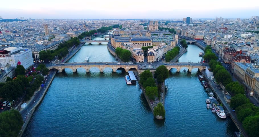 Paris Seine river aerial France