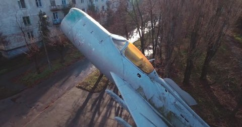 Aero video shooting. 20. December 2017. Monument The Mikoyan-Gurevich MiG-15. was a jet fighter aircraft. seconds, stands in the park of the city of Svetlovodsk-Ukraine. It's a nasty day.