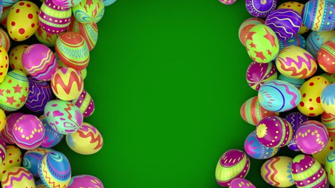 Easter eggs on solid background.  Colorful Easter eggs form a frame, you can put there your inscription or logo . Green background.