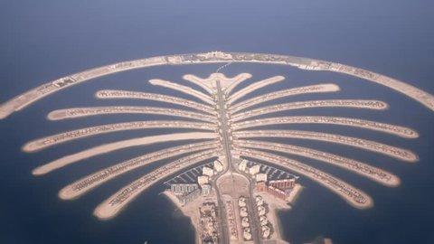 Jumeirah Palm Island Development In Dubai  shooting from air