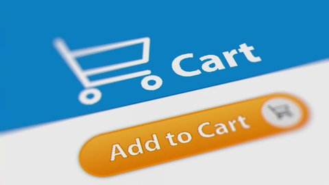 Close up Shot of Mouse Cursor Clicking Add to Cart Button. Animated Counting Numbers. Online Shopping
