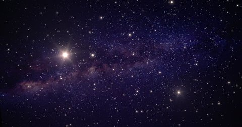 A slow animated background traveling through open space. Stars flow past camera, with a two bright suns and the center of the galaxy in the distance.