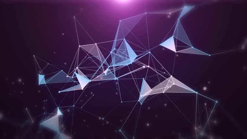 Plexus of abstract purple geometrical lines with moving triangles and dots. Loop animations.
