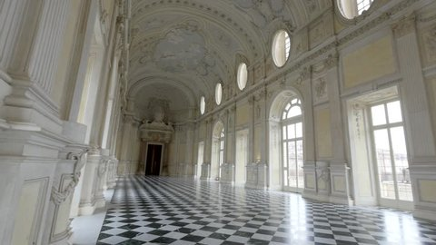 TURIN, ITALY - CIRCA FEBRUARY, 2018: Diana Gallery panoramic view in Venaria Royal Palace - Reggia Venaria. It was the former royal residence of the Savoy family.