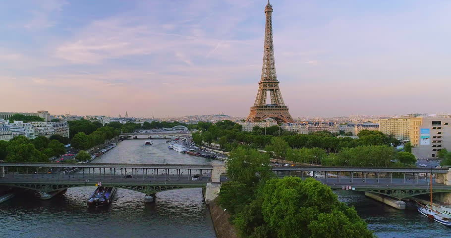 Paris sunset Eiffel tower aerial | Shutterstock HD Video #1007162530
